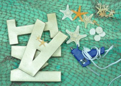 Letters, shells & starfish