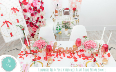 Romantic Red & Pink Watercolor Heart Themed Bridal Shower
