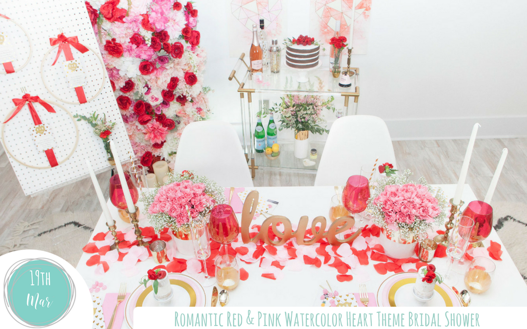 romantic red pink watercolor heart themed bridal shower
