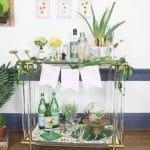 Simple Botanical Bar Cart Backdrop