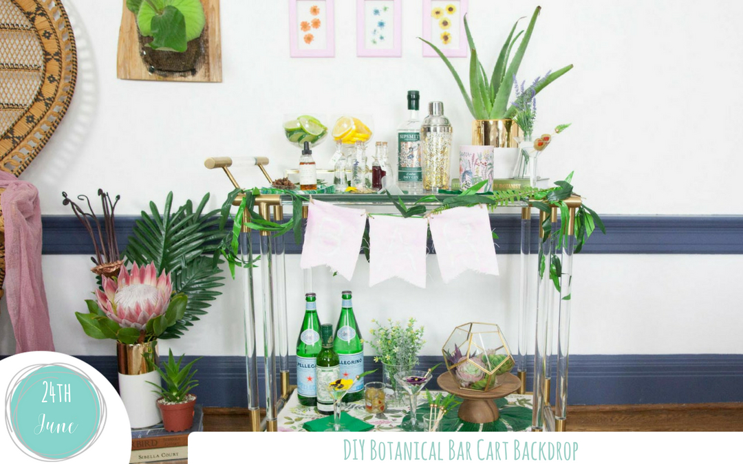 Simple Botanical Bar Cart Backdrop