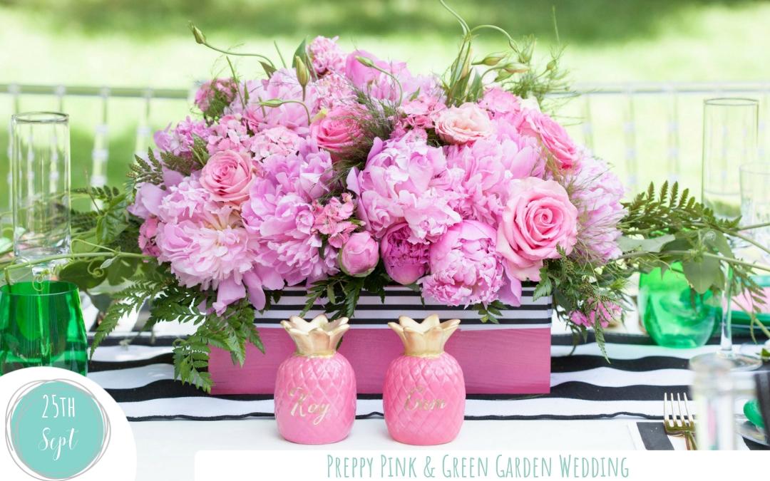 Preppy Green & Pink Outdoor Garden Wedding