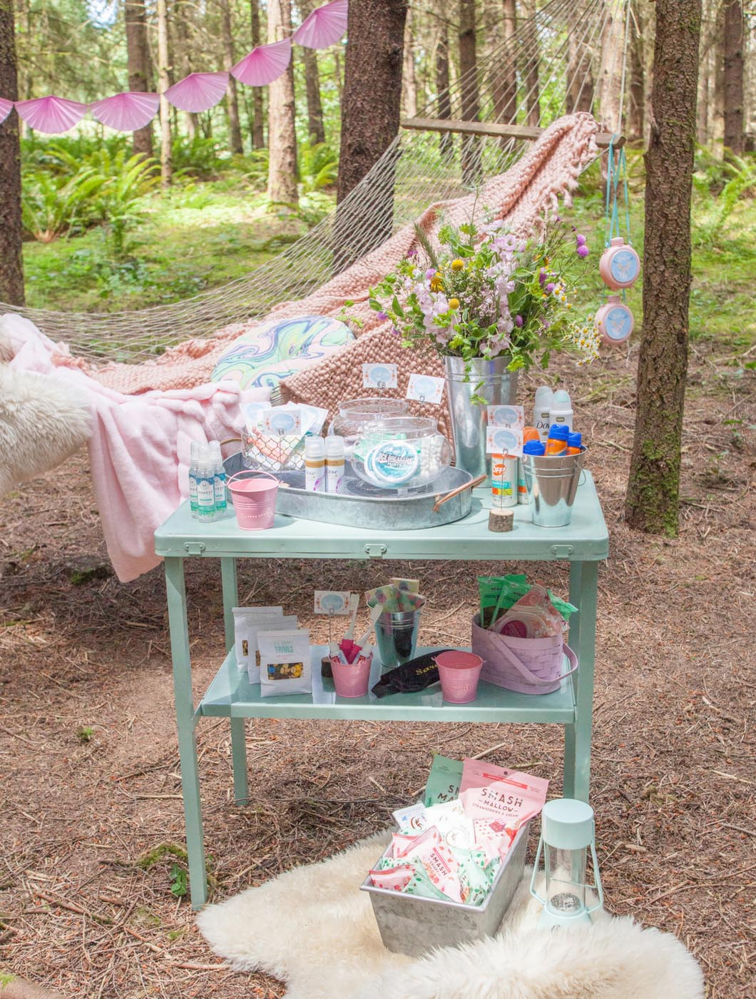 glamping bachelorette party DIY comfort station