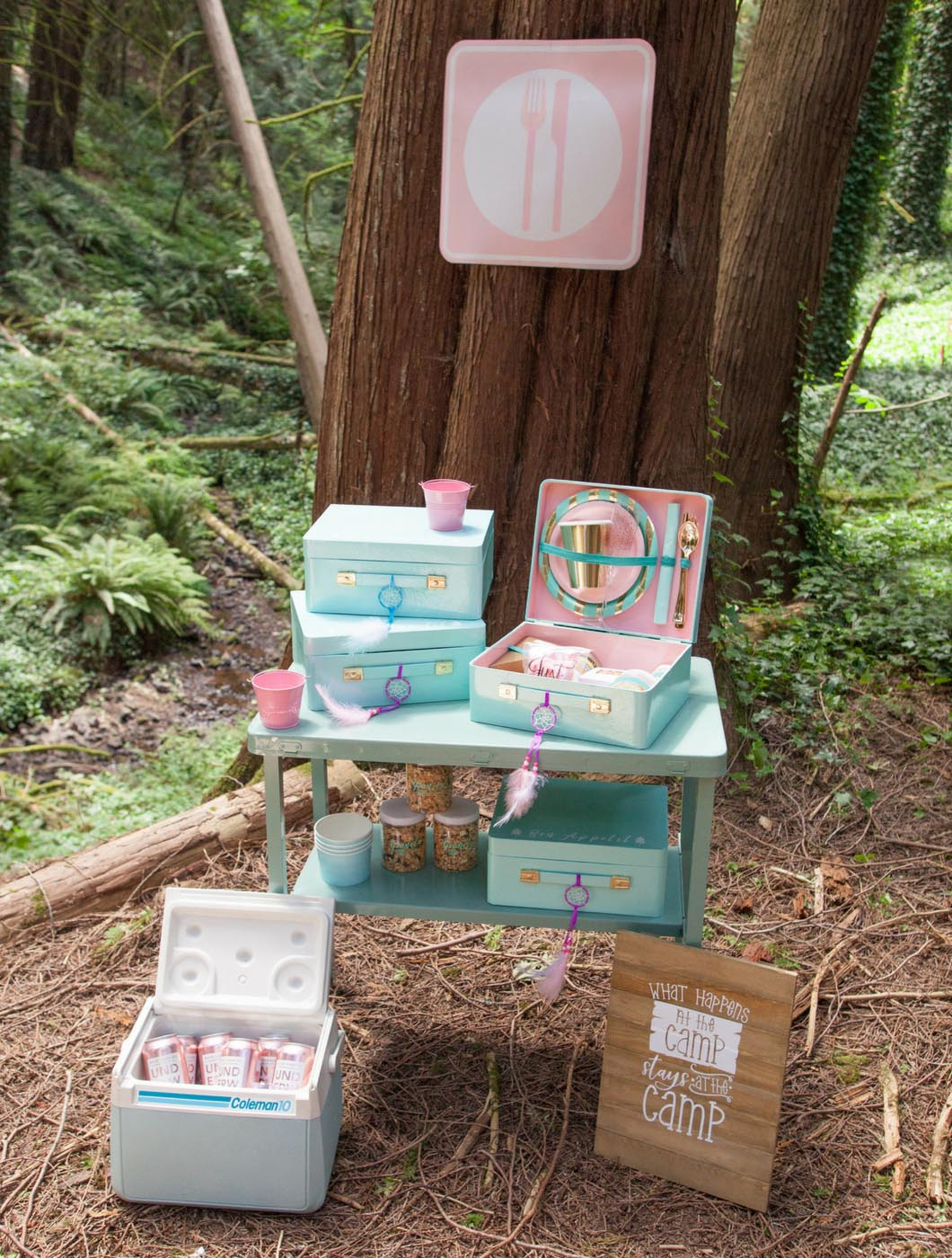 glamping bachelorette party DIY individual serving station