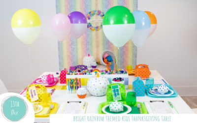 Happiness is a Rainbow Thanksgiving Table for kids