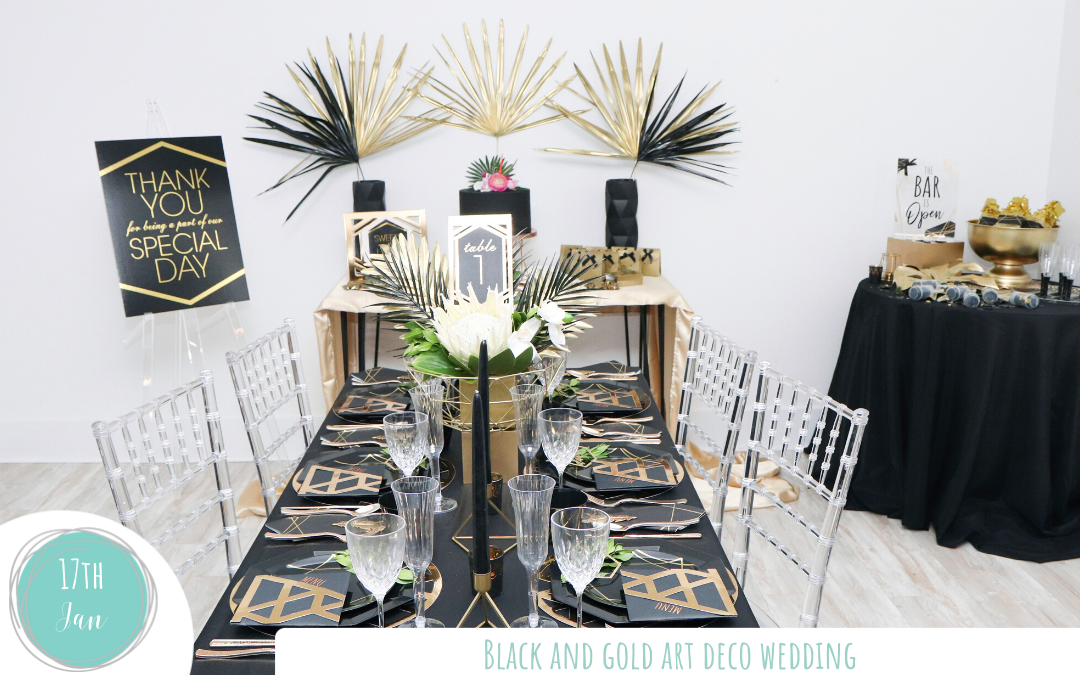 Black and Gold Art Deco Wedding | Fern and Maple