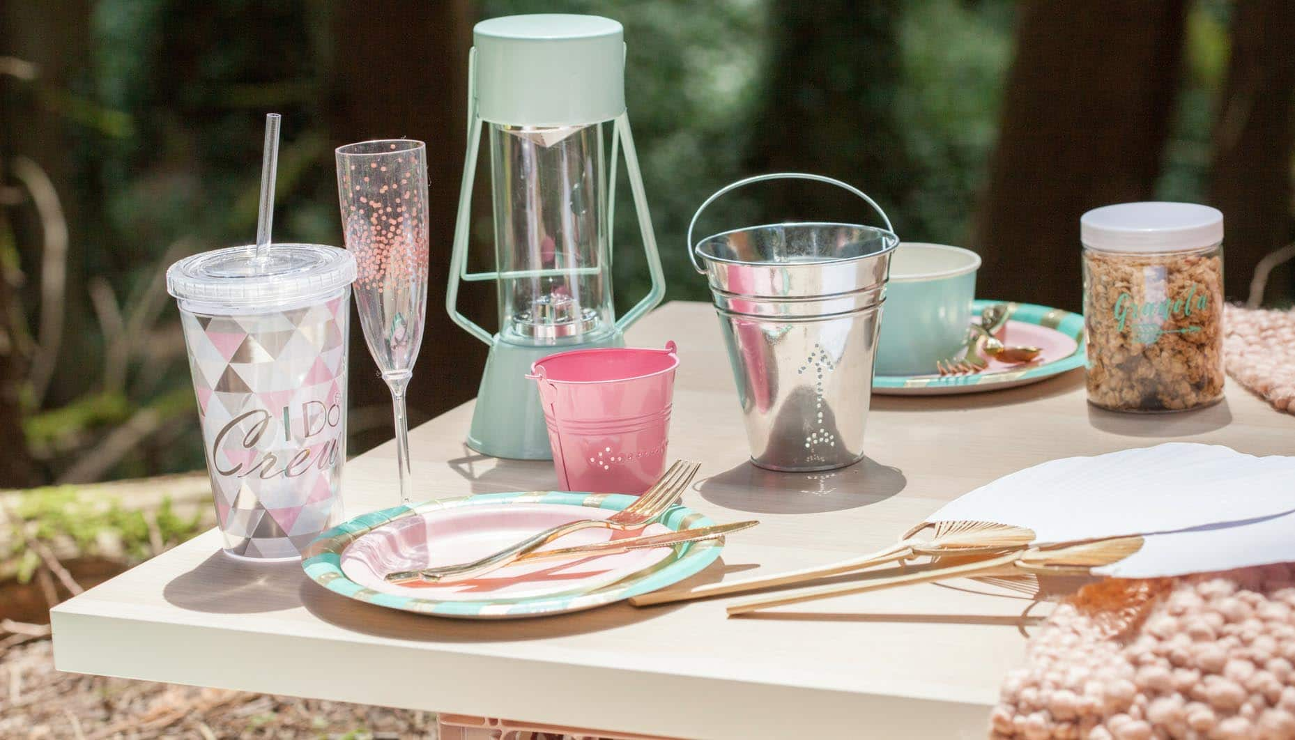 glamping bachelorette party DIY luminaries