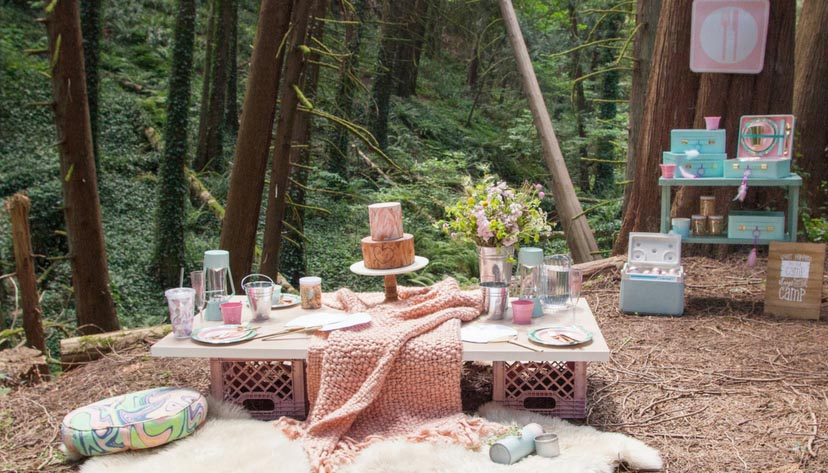 glamping bachelorette party table setting