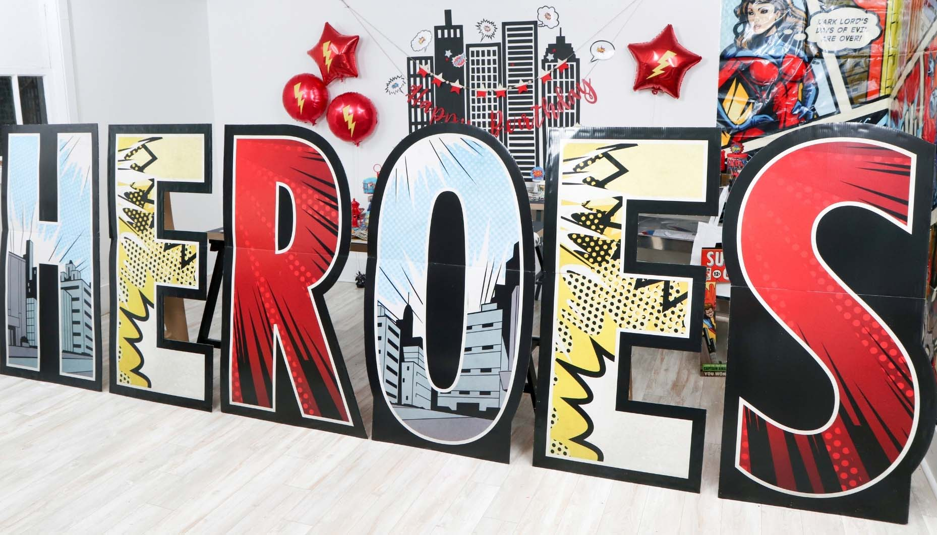 superhero party cardboard standup letters