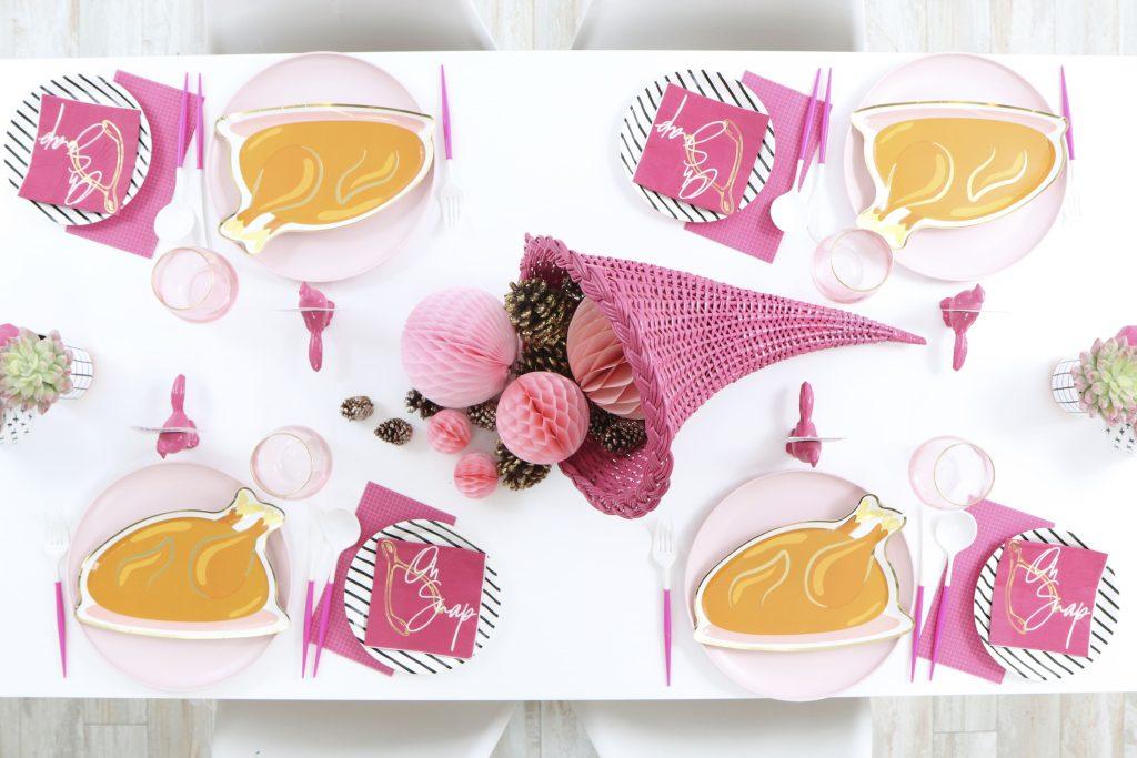 pink thanksgiving turkey dinner table setting