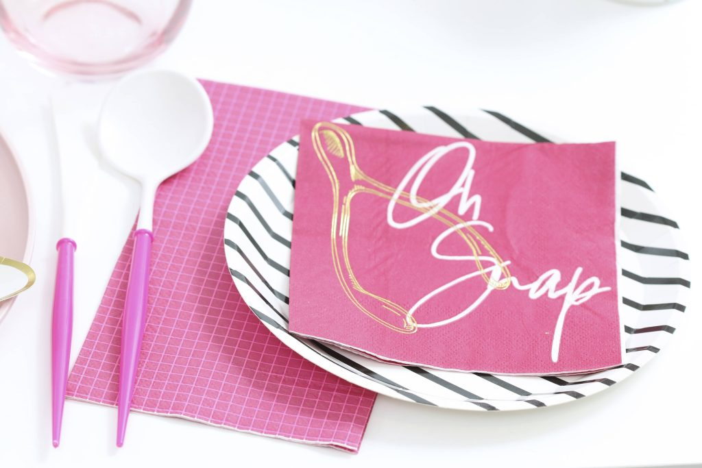 pink thanksgiving black and white modern dessert plates and wishbone napkins