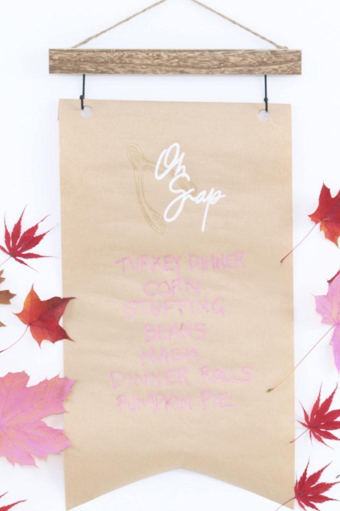 modern pink thanksgiving turkey dinner menu banner backdrop
