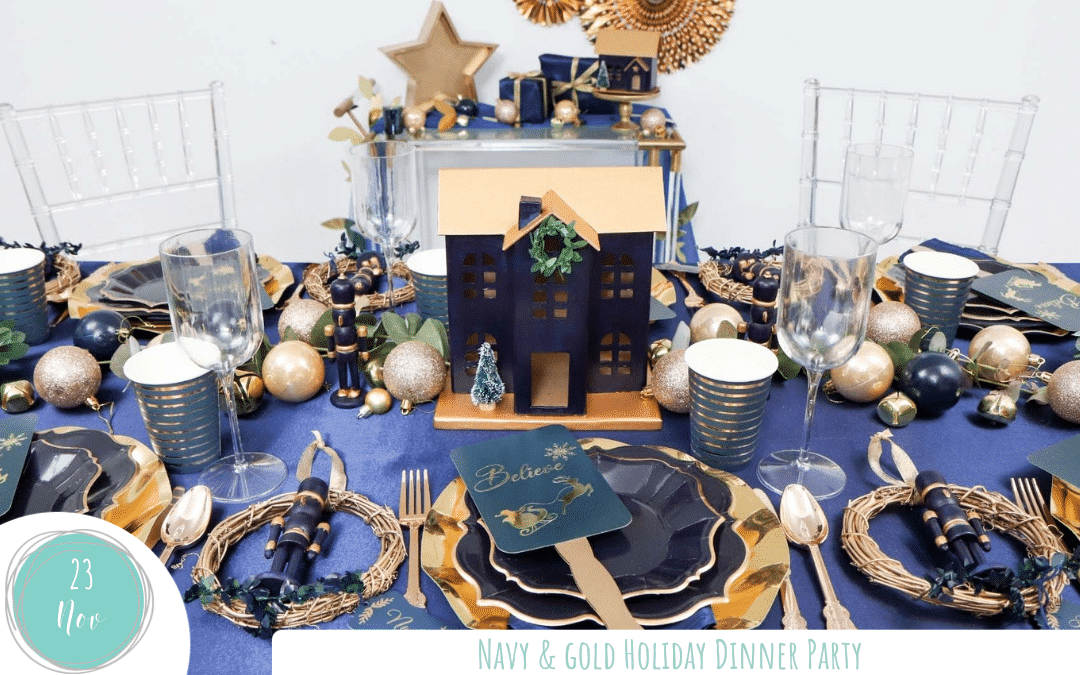Navy & Gold Holiday Dinner Party