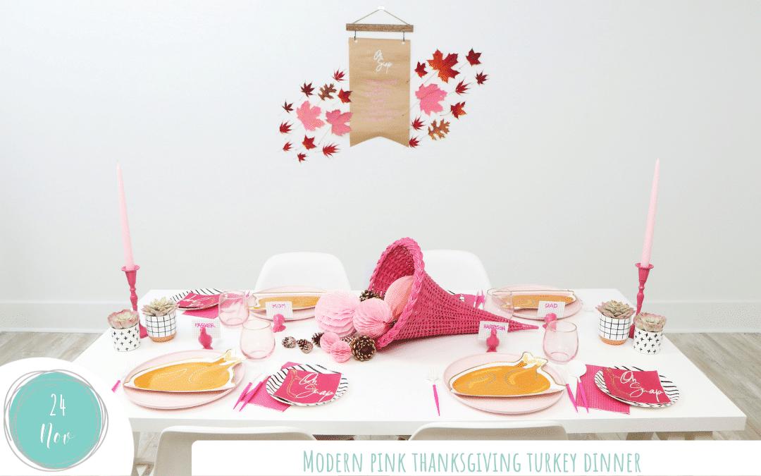 Modern Pink Thanksgiving Turkey Dinner