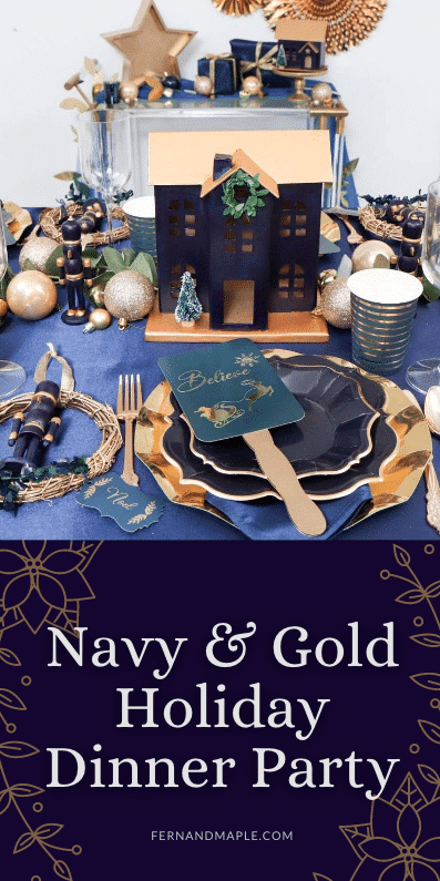 Navy and Gold Holiday Dinner Party Pin