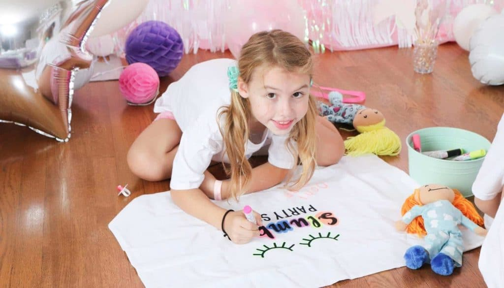 slumber party pillow case decorating activity
