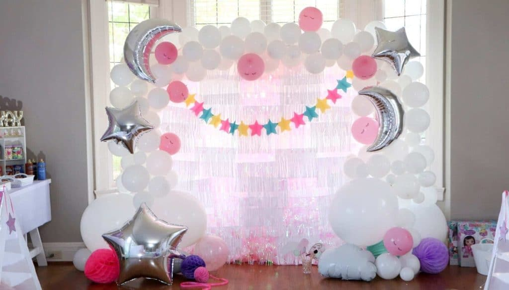 slumber party DIY stars moon and clouds photo backdrop