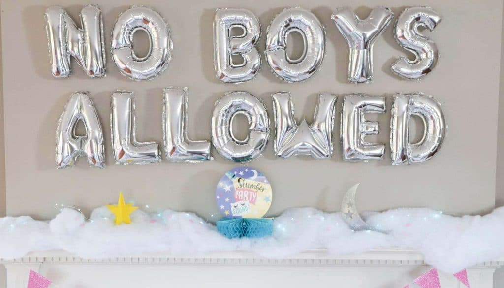 slumber party no boys allowed mantle decoration
