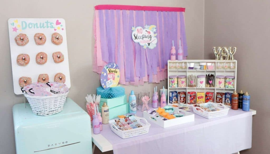 slumber party sweet treat food and milk station