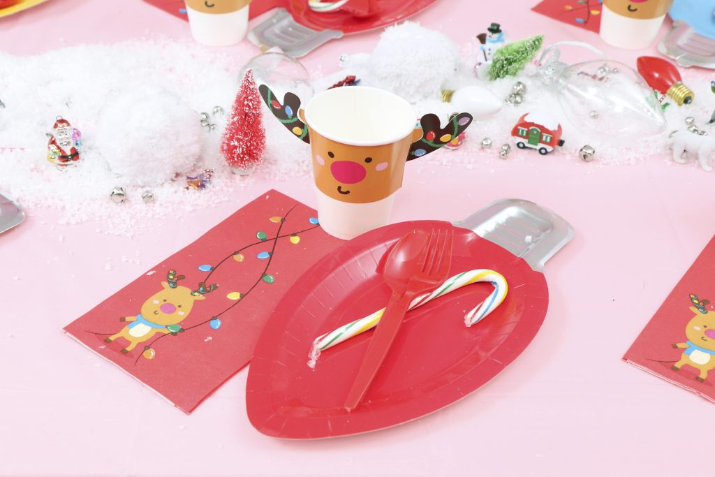 christmas light holiday kids party place settings