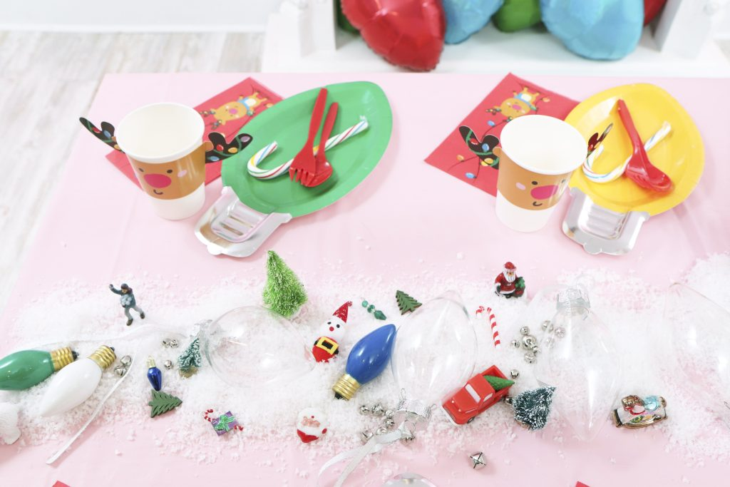 christmas light holiday kids craft party table setting