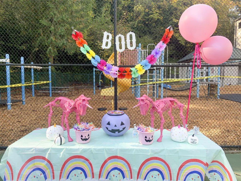 halloween community festival rainbow unicorn table