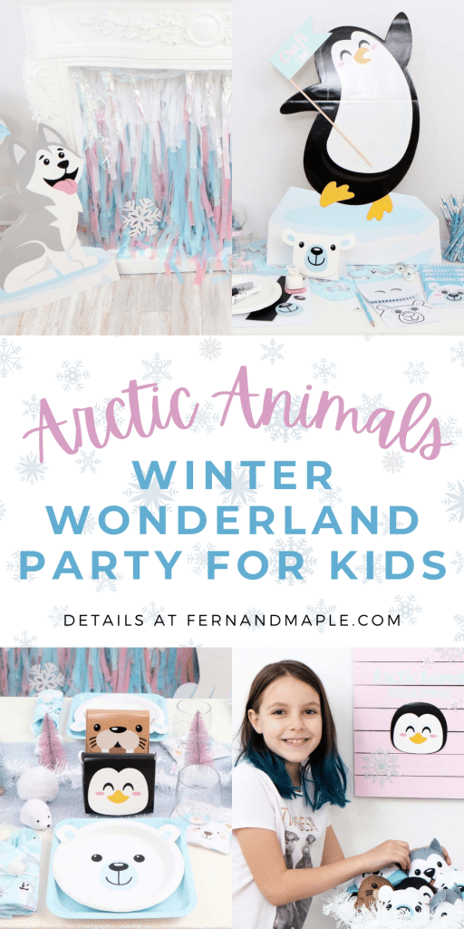 Ideas for a magical Arctic Animals Winter Wonderland Party for Kids, including DIY backdrop, place setting, craft station ideas, and more! Get all of the details now at fernandmaple.com!