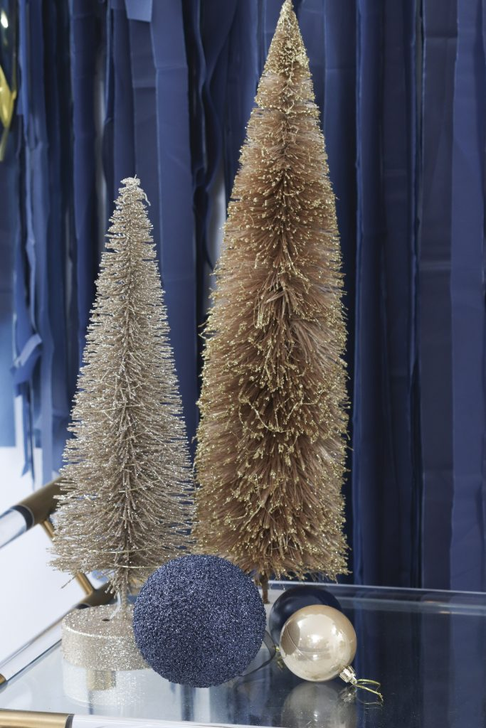navy and gold holiday decor
