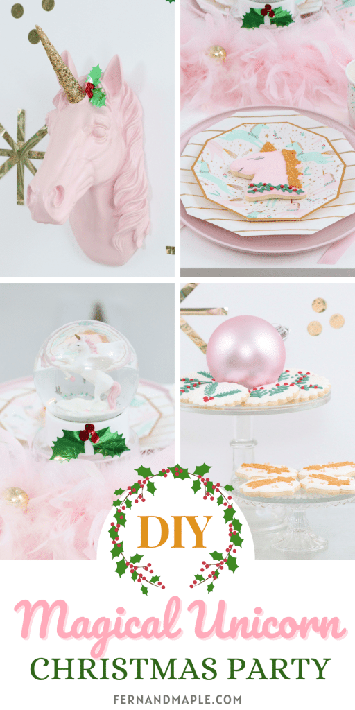 Throw a Magical Unicorn Christmas Party for kids or adults with these ideas for DIY Backdrop, Table Settings, Dessert Cart and more! Get all of the details now at fernandmaple.com!