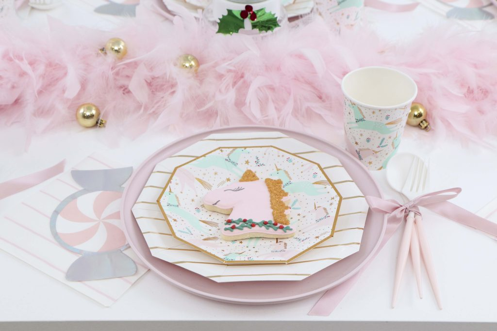 Magical Unicorn Christmas party place settings
