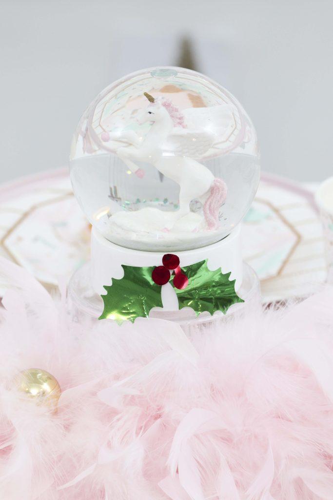 Magical Unicorn Christmas party table setting