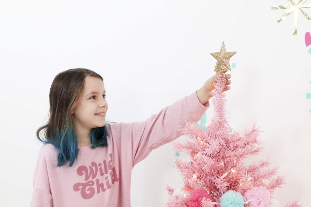 Making Spirits Bright Neon Holiday Party pink christmas tree with gold star