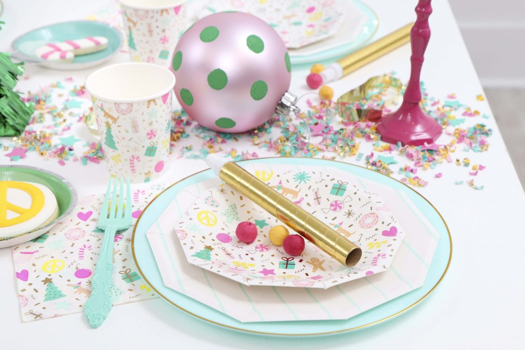 Making Spirits Bright Neon Holiday Party place setting