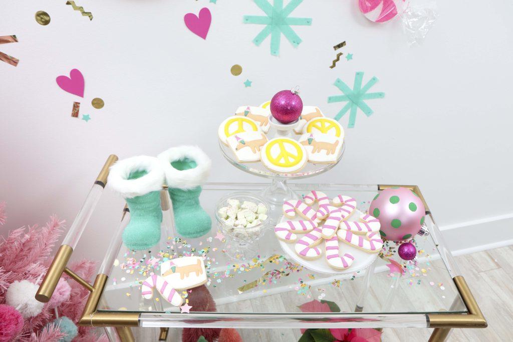 Making Spirits Bright Neon Holiday Party dessert cart