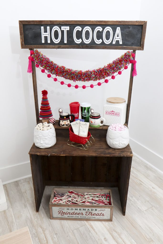 Pom Pom Party for the Holidays hot cocoa station