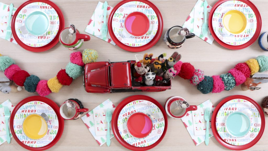 Pom Pom Party for the Holidays table setting