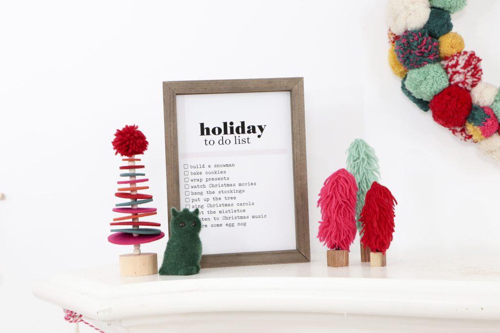 Pom Pom Party for the Holidays mantel decor