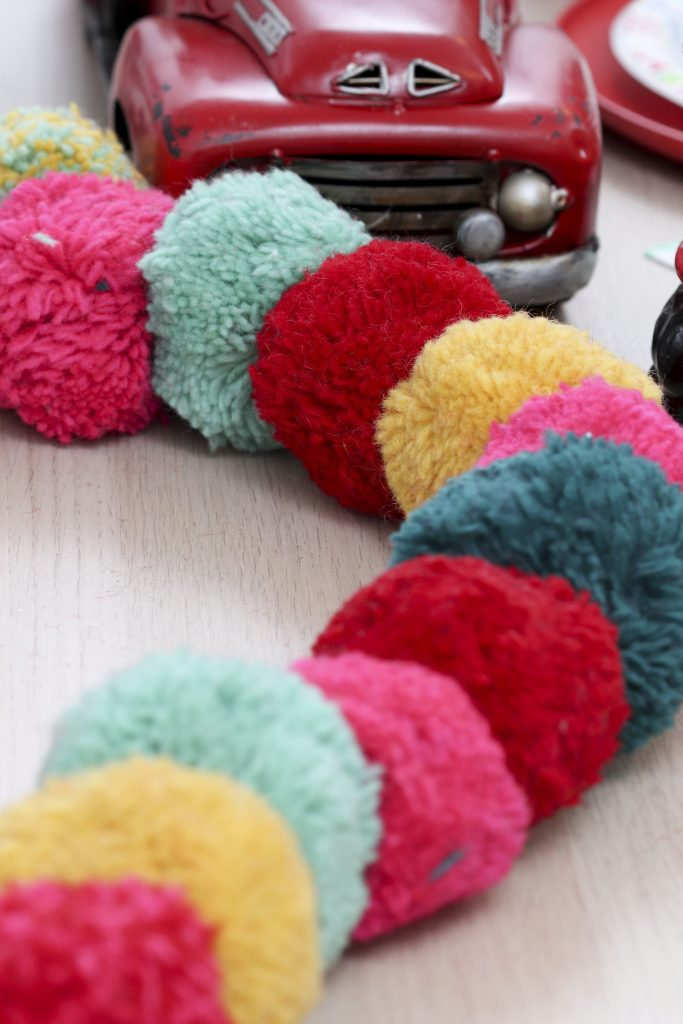 Pom Pom Party for the Holidays garland table runner