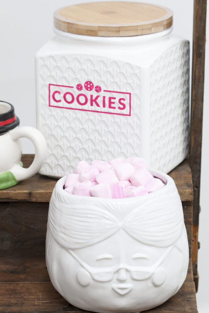 Pom Pom Party for the Holidays hot cocoa station cookie jar