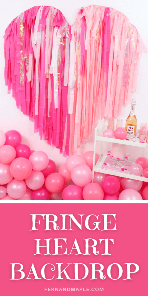 Create a show-stopping Valentine's Day backdrop for Instagram-worthy photo ops with this Valentine's Day Fringe Heart Backdrop! Get details now at fernandmaple.com!
