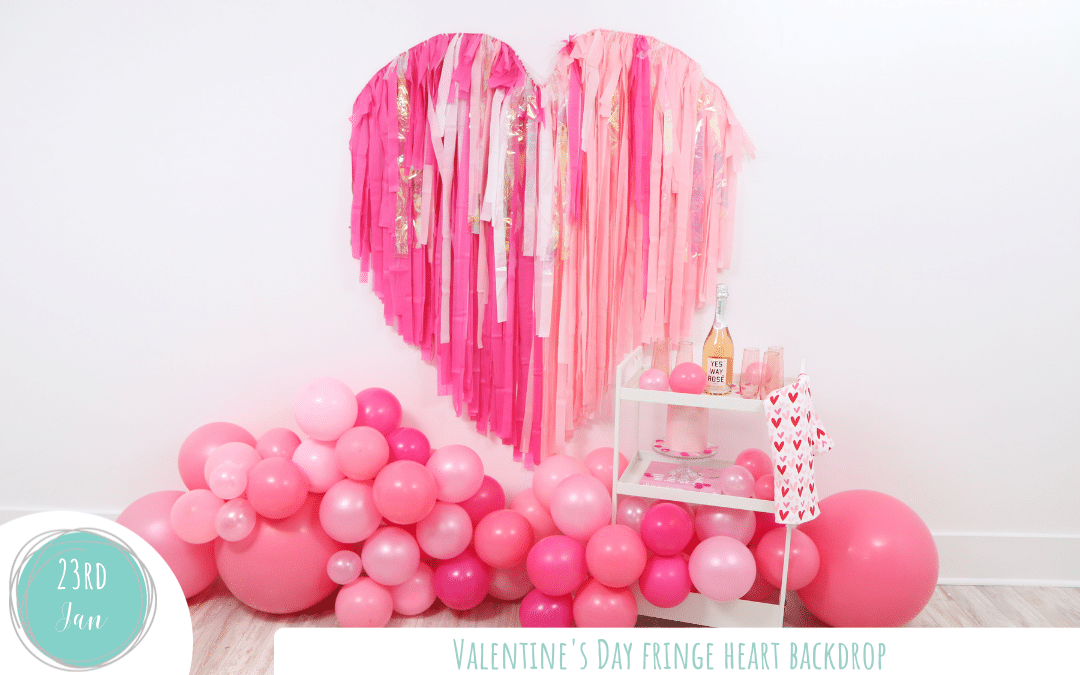Valentine's Day Fringe Heart Backdrop