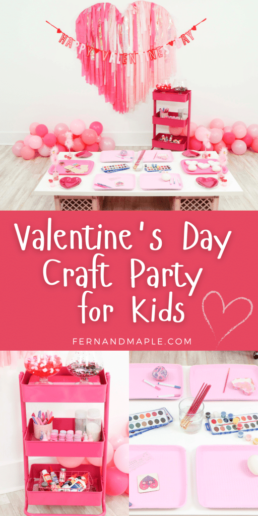 Throw an entertaining and interactive Valentine's Day Craft Party for Kids with fringe heart backdrop, craft cart, and craft table ideas! Get all of the details now at fernandmaple.com!