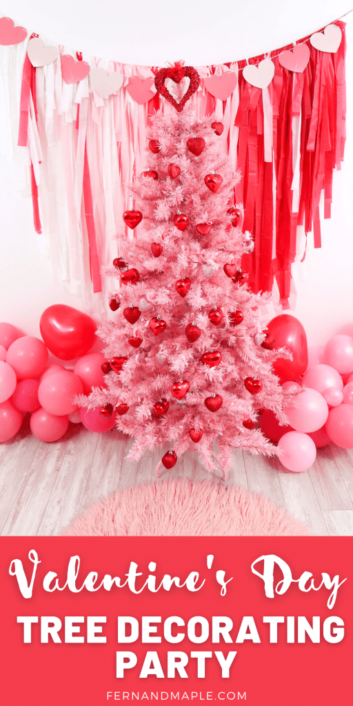 Trees aren't just for Christmas - decorate a Valentine's Day tree at a tree decorating party with fun backdrop, decor, and candy heart ornament craft! Get details now at fernandmaple.com!