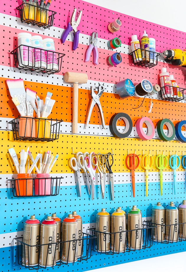 Pegboard organization method for craft supplies. Get more organization ideas now at fernandmaple.com!