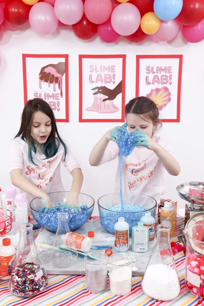 Set up a heart-filled Slime Lab for a fun and entertaining Valentine's Day Slime Party for Kids! Plus, how to create to-go Slime Kits for friends! Get details now at fernandmaple.com!