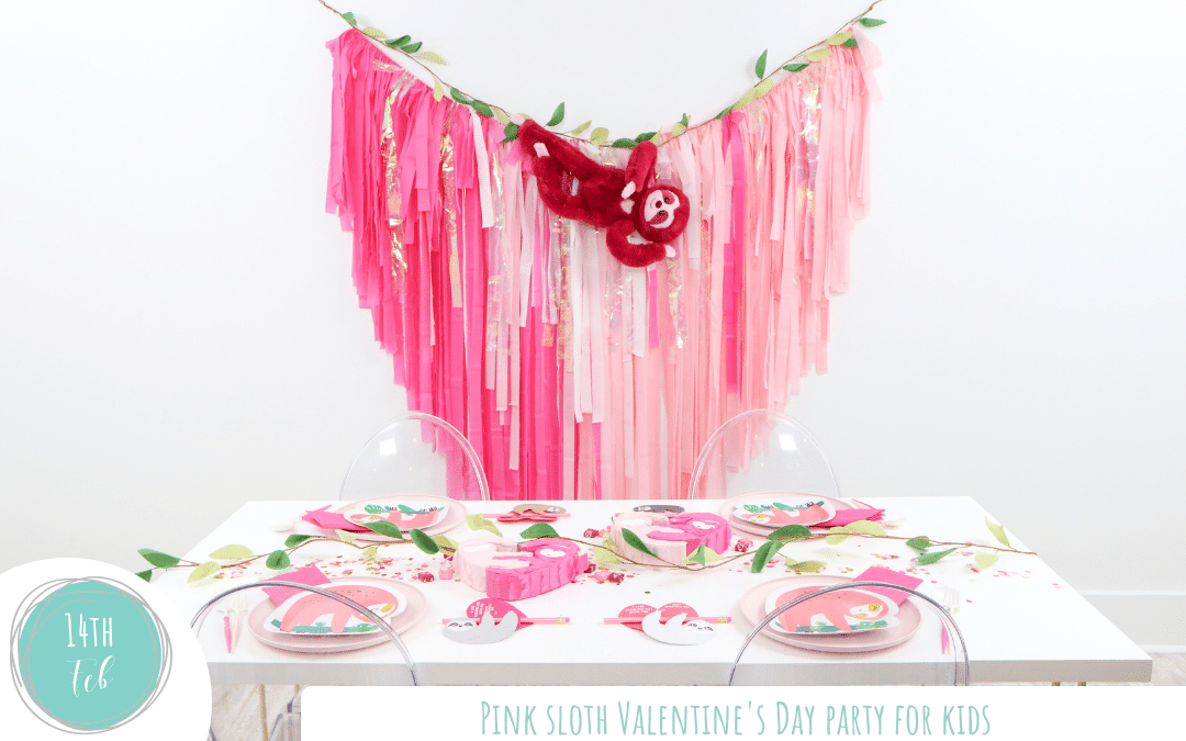 Pink Sloth Themed Valentine's Day Party for Kids