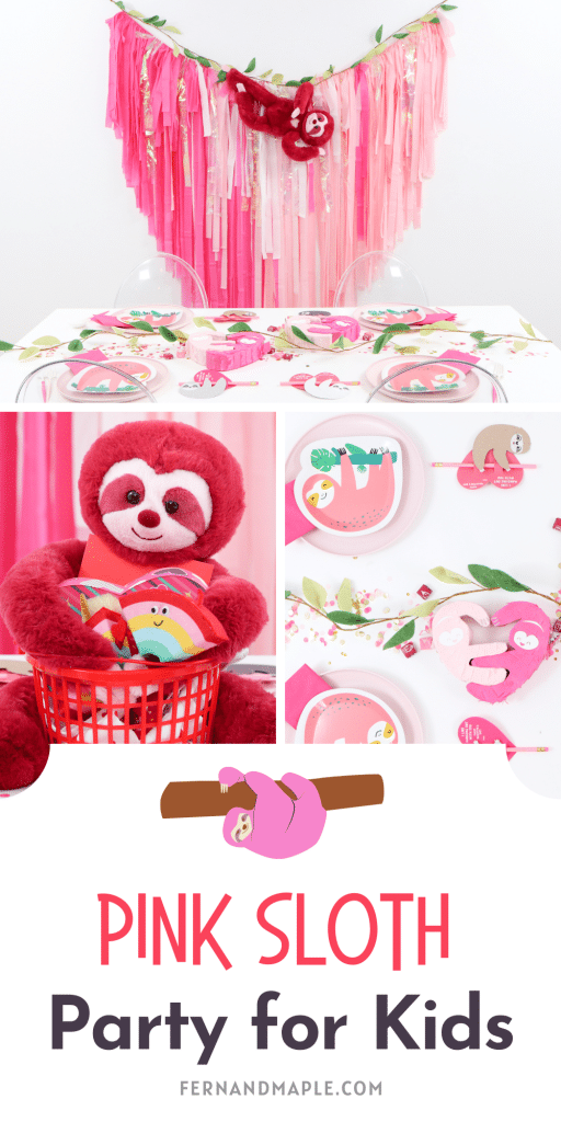 """Throw a Pink Sloth themed party for your kids to show them how much you love """"hanging out"""" with them! Perfect for Valentine's Day or any occasion! Get details on backdrop, table setting, place settings and more now at fernandmaple.com!"""