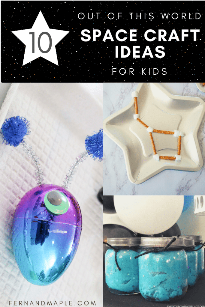 10 Out of this World Space-Themed Craft Ideas for Kids - perfect for parties or play dates. Plus, pre-made craft kit options! Get all of the ideas now at fernandmaple.com!