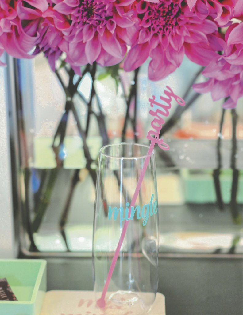 Champagne glasses for a floral arranging party - get details now at fernandmaple.com!