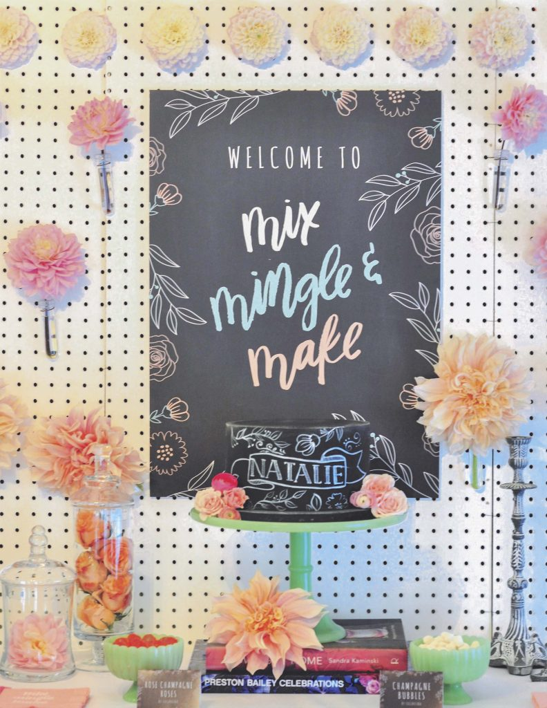 Floral Chalkboard Sign for a floral arranging party - get details now at fernandmaple.com!